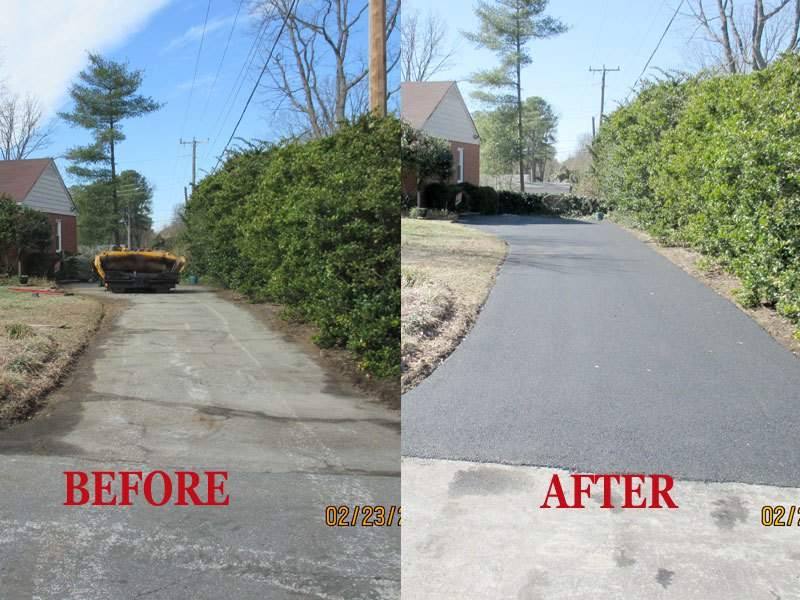This is a before and after picture of a Asphalt Repair  job Richmond VA